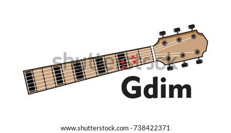 Vector Set Guitar Chord Diagram Tab Tabulation Finger Chart Basic