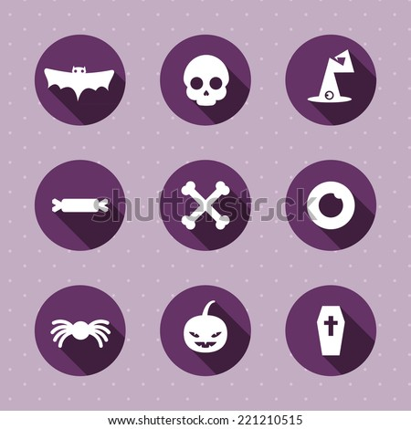 Vector set. Halloween icons. Flat design - stock vector