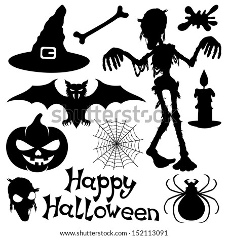 Vector set. Halloween silhouettes. - stock vector