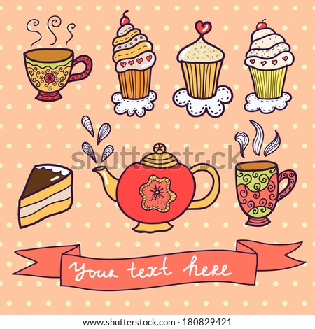 Vector set hand drawn cupcake and teapot.