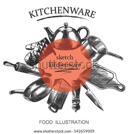 Vintage Kitchen Utensils Illustration vintage kitchen utensils stock images, royalty-free images