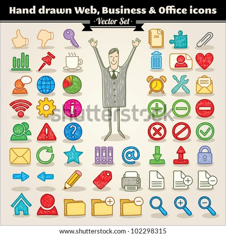 Vector Set. Hand Drawn Web, Business And Office Icons
