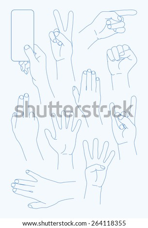 vector set Hands Icons - Illustration -   100% vector shape.  Fully editable in Illustrator. All items are well organized and layered. Background texture are included in vector shape.  - stock vector