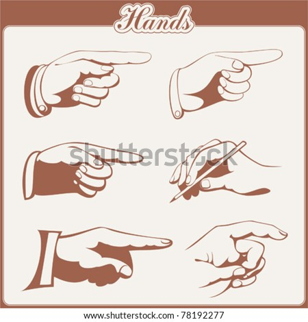 vector set: hands - 6 items - stock vector