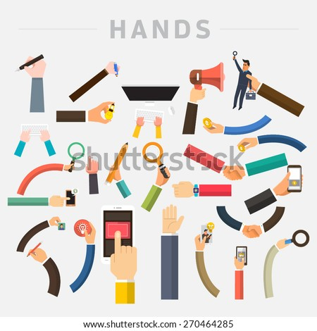 Vector set hands. Mix hand hold multi device for use in muti layout design. - stock vector