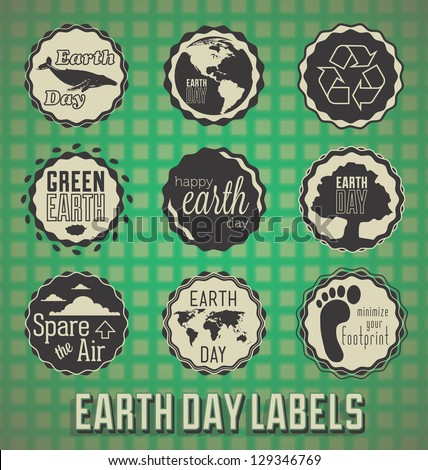 Vector Set: Happy Earth Day Labels - stock vector