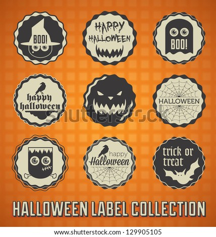 Vector Set: Happy Halloween Labels and Icons - stock vector