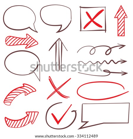 vector set highlighter elements, arrow, check mark, bubble, circle