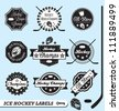 Vector Set: Ice Hockey Labels and Stickers - stock vector