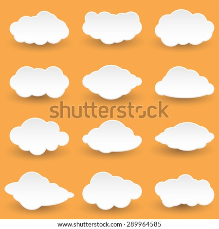 Vector Set Icon Messages in the form of Clouds. Illustration.  - stock vector
