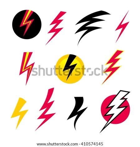 Vector set icons black Lightning bolt. Set of Thunder Icons. Thunder with lightning. Electricity danger thunder. Lightning bolt icon. vector Lightning bolt. lightning bolt isolated. - stock vector