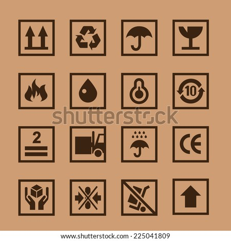 Vector set icons cardboard