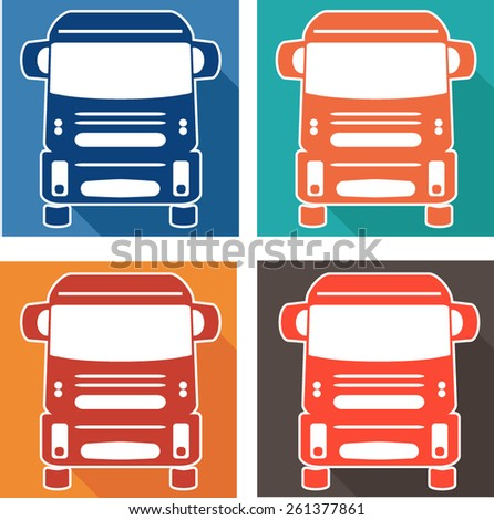 vector set icons heavy truck automobile - stock vector