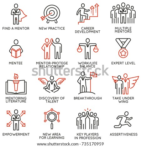 Vector set icons related to career progress, corporate management, business people training, tutorship and professional consulting service. Line pictograms and infographics design elements - part 4