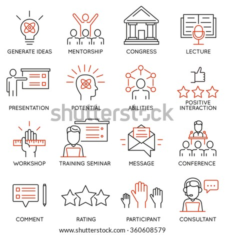 Vector set icons related to career progress, corporate management, business people training and professional consulting service. Mono line pictograms and infographics design elements  - stock vector