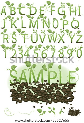 Vector  set illustration a letter in the form of green sprouts on the earth - stock vector