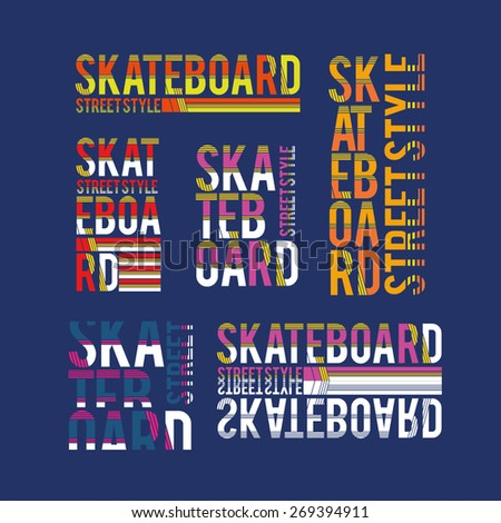 vector set illustration skateboard freestyle street style legendary rider, graphics for t-shirt ,vintage design logo, label, badge - stock vector