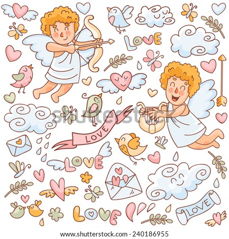 Vector set in doodle style for Valentine's Day. Cupid with a bow, cupid with a harp, birds, hearts, clouds and other elements. - stock vector