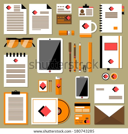 Vector set in modern flat design of corporate style branding design with a variety of blank office objects for your presentation. Isolated on light background. Icons set of abstract business branding  - stock vector