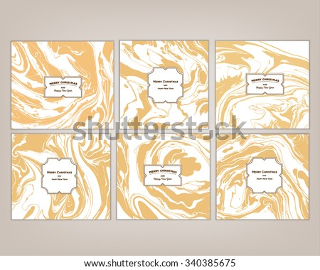 Vector set Ink texture watercolor hand drawn marbling illustration, abstract background, party invitations. Template for sail, wedding (save date), Christmas, envelope, valentine, card design - stock vector
