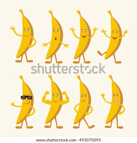 Vector set isolated banana. Collection banana in cartoon style. Funny banana in different pose and emotion.