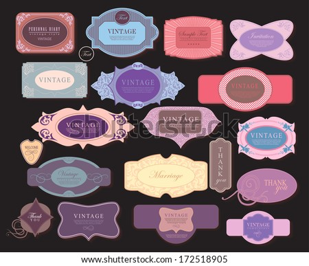 vector set: label, frame, ribbon in different styles