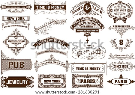 Vector set. 22 Labels and banners. Layered - stock vector
