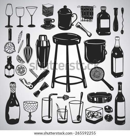 Vector set: Large set of bar equipment and glassware - stock vector