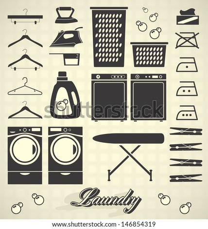 Vector Set: Laundry Room Labels and Icons - stock vector