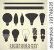 Vector Set: Light Bulb Silhouettes - stock