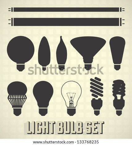 Vector Set: Light Bulb Silhouettes - stock vector