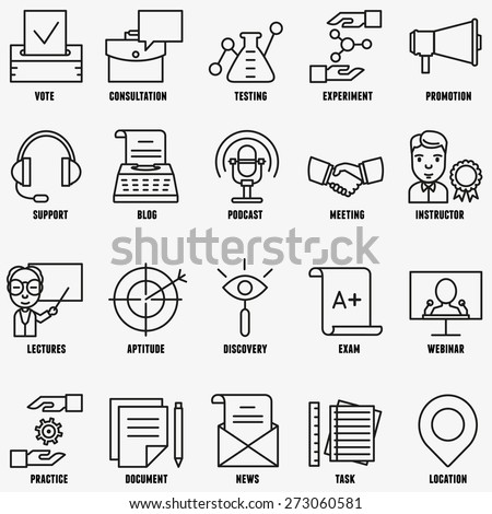 Vector set linear business education icons - part 2 - vector icons - stock vector