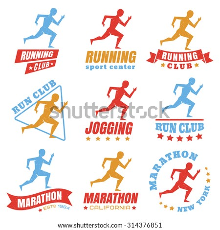 Vector set logos for running club - stock vector