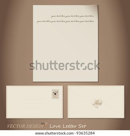 Vector set: Love Letter designs - paper and envelopes. - stock vector