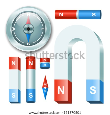Vector set magnets with compass - stock vector