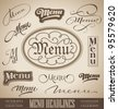 vector set: menu headlines, handmade calligraphic lettering (eps8) - stock