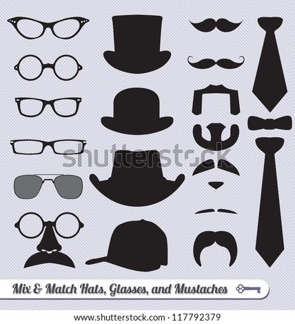Vector Set: Mix and Match Mustache Glasses Hats and Ties - stock vector