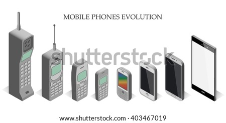 Vector set modern and vintage mobile gadgets. mobile phone  evolution vector isometric.  Mobile phone evolution vector isometric.  Isometric mobile phone template. - stock vector