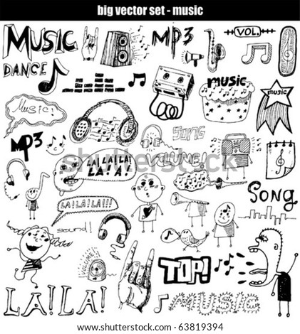 vector set : music - stock vector