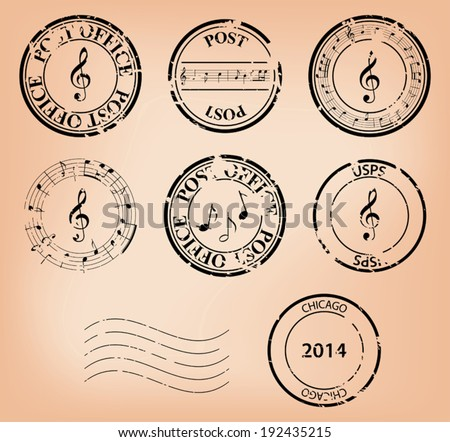 vector set - music grungy post stamps. Eps 8. - stock vector