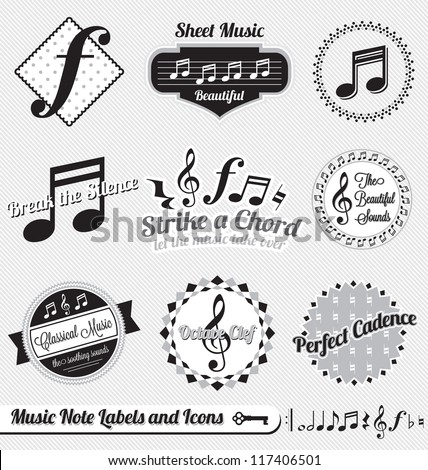 Vector Set: Music Notes Labels and Icons - stock vector