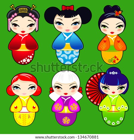 Vector set N 2 of cute kokeshi dolls - stock vector