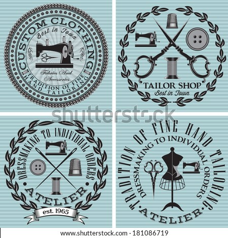 vector set notation topics tailor, clothing, repair - stock vector