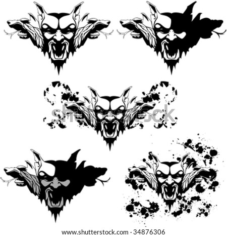 vector set of a vampire golem with different textures and decorations - stock vector