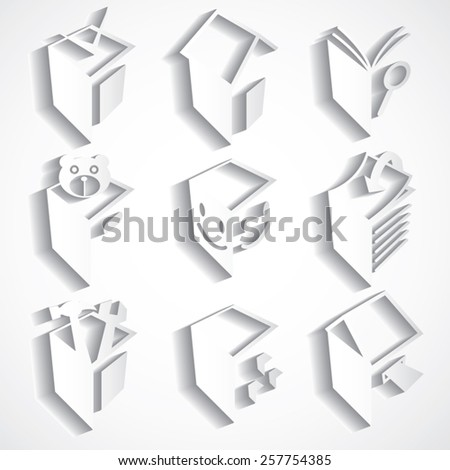 vector set of abstract 3d paper for print or web design