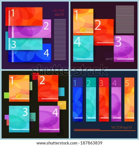 Vector set of abstract infographic Flat designs  - stock vector