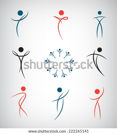 vector set of abstract line man, sport, dance, figure, team icons, logos isolated - stock vector