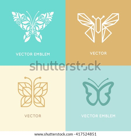 Vector set of abstract logo design templates and emblems - butterfly silhouette made with leaves and flowers - concepts for cosmetics, beauty and florist services - butterfly illustration  - stock vector