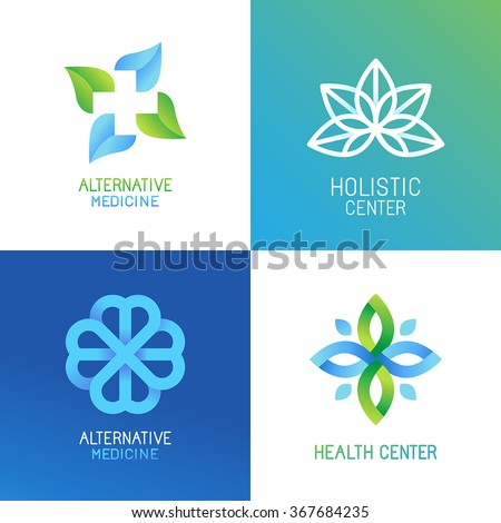 Vector set of abstract logos and emblems - alternative medicine concepts and health centers insignias in gradient blue and green colors