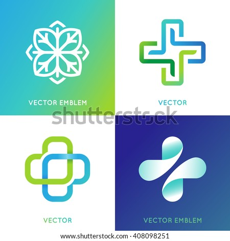 Vector set of abstract logos and emblems - alternative medicine concepts and health centers insignias in gradient blue and green colors - plus signs